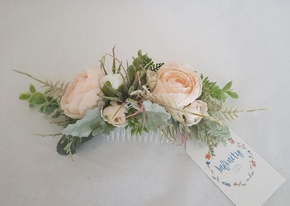 Rustic Blush Flower Bridal Hair Comb Floral Bridal Hair Piece
