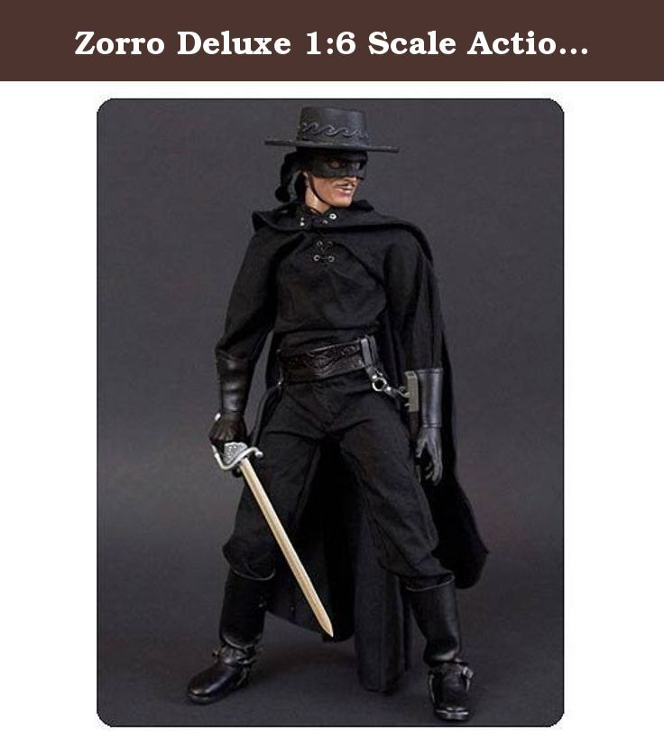 Zorro Deluxe 1:6 Scale Action Figure. The Zorro Deluxe 1:6 Scale Action Figure! Stands 12-inches tall in 1:6 scale with 35 points of articulation. Costume inspired by Antonio Banderas' Zorro! Includes full metal sword and scabbard and a wired whip for posing with the belt mount! Inspired by novelist Johnston McCulley's tales of the masked crusader in the early 20th century, this Zorro Deluxe 1:6 Scale Action Figure features nobleman Don Diego de la Vega, a battle of corruption, greed, and...