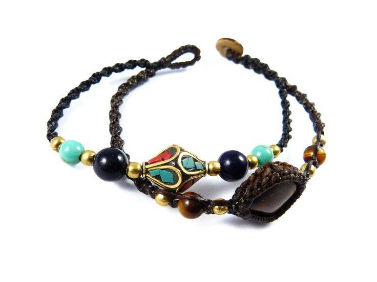 Armbänder - Armband Tigerauge Tibet Perle Makramee Thailand - ein Designerstück von Valadda bei DaWanda