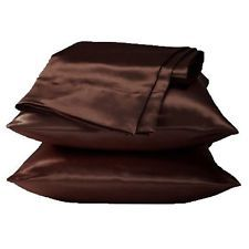 2 Pcs Soft Silky Satin Pillow Case Solid Coffee Brown Cushion Cover Home Bedding
