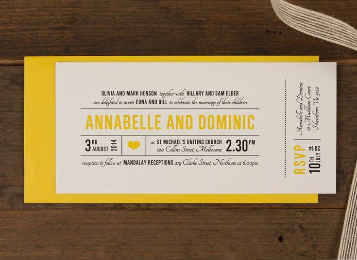 34 best wedding invitation graphics images on pinterest canary wedding invitation papermarc melbourne australia stopboris Choice Image