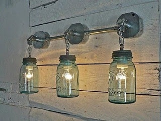Blue Ball Jar electric lighting - this would have been cute down on our barn or on my potting shed.