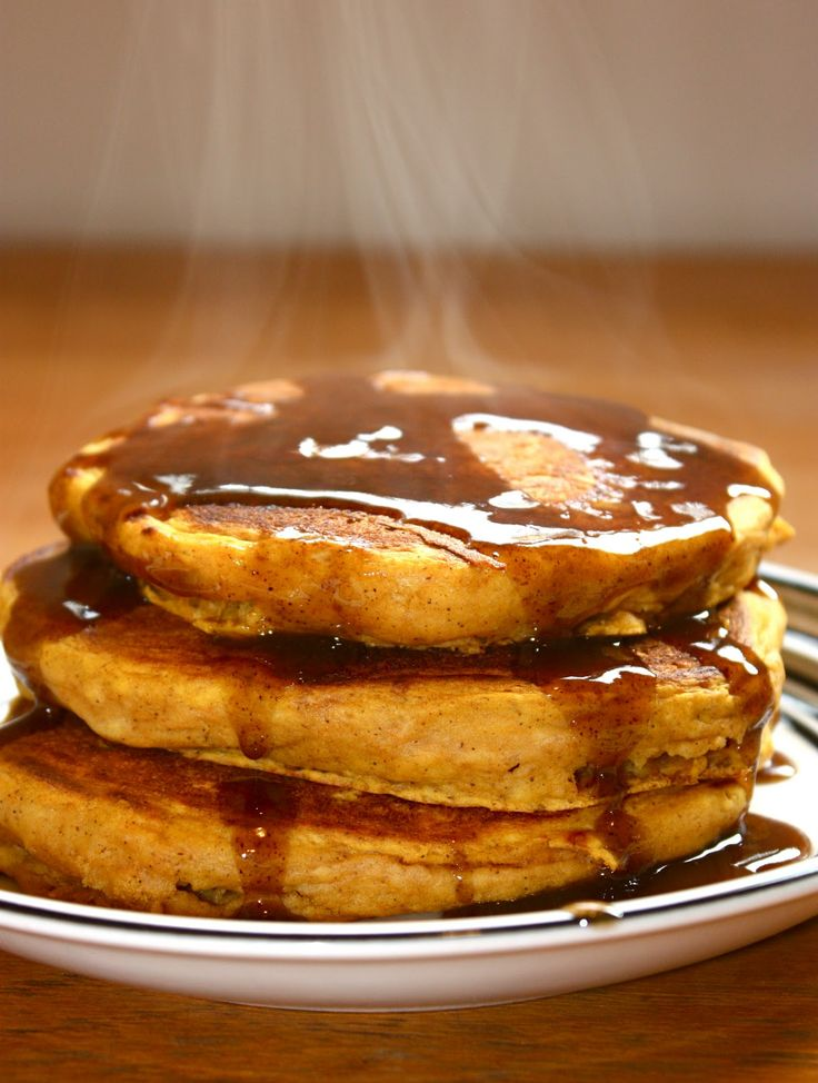 Pumpkin Pancakes w/ Cinnamon Syrup