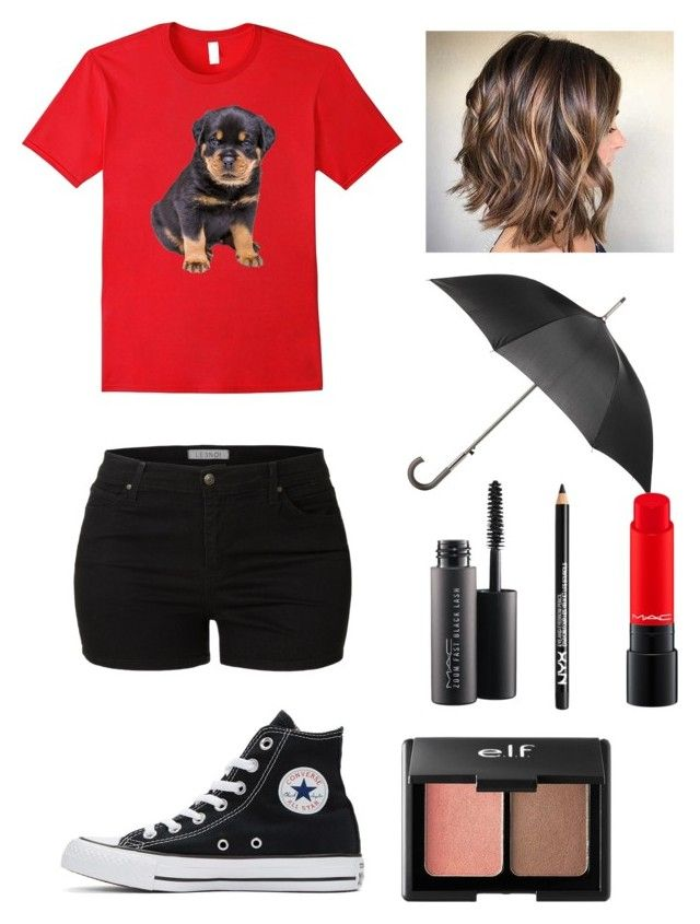 """Lazy, Rainy Saturday"" by pinkelephant21 ❤ liked on Polyvore featuring LE3NO, Totes, Converse, NYX, Charlotte Russe and MAC Cosmetics"