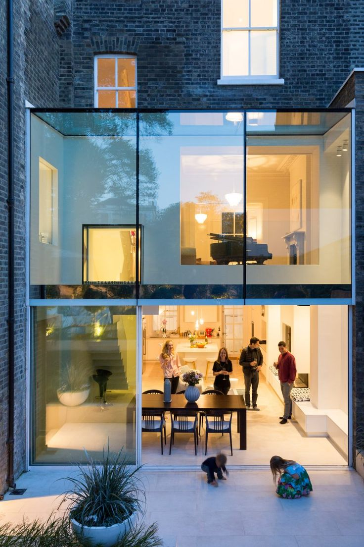 Lipton Plant Architects created this glazed extension for a house in north London to offer residents views between its various levels and out to the garden.