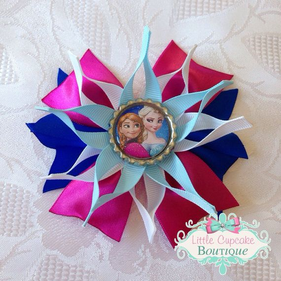 Frozen Inspired Princess Sisters Elsa and Anna Snowflake Bottle Cap Hair Bow on Etsy, $5.00