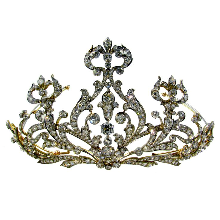 Platinum Topped Yellow Gold and Diamond Tiara. Circa, 1905. The Tiara is set with approximately 35.00 carats of diamonds.