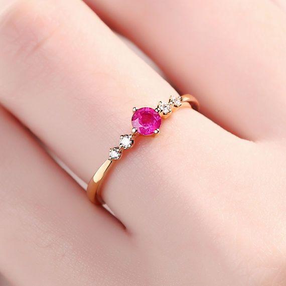 Anillo de rubí natural anillo de rubí diamante 14 K Rose