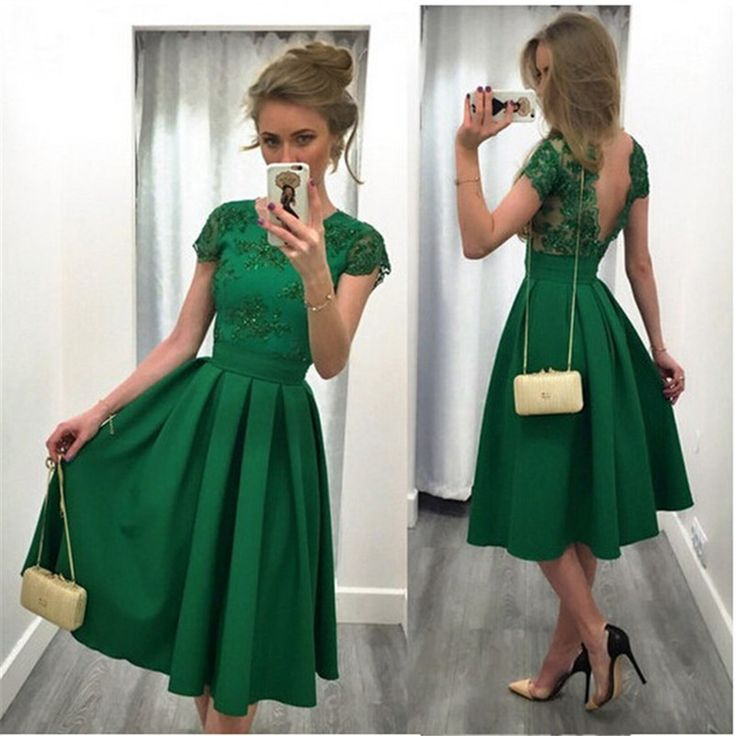Find a Fashion Short Green Homecoming Dresses Elegant Knee Length Emerald Homecoming Dress Backless Lace Prom Party Dress Gowns  Online Shop For U !