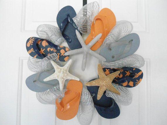flip flop starfish wreath SALE beach house nautical sharks octopus blue and orange UVA University of Virginia on Etsy, $39.60