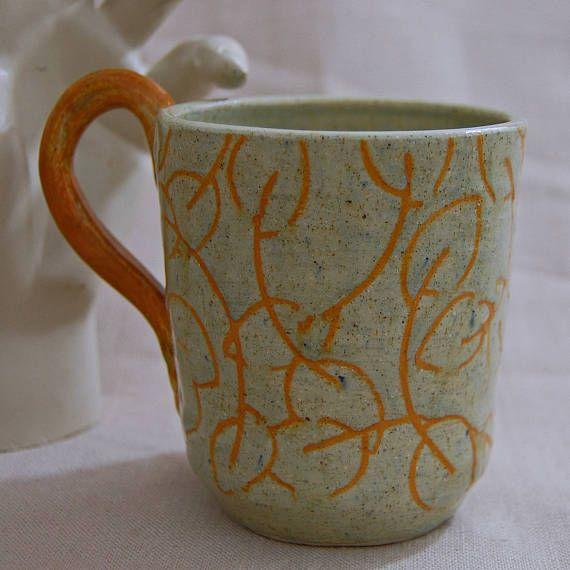 Fall Leaves  floral coffee mug ceramic mug handmade ceramic