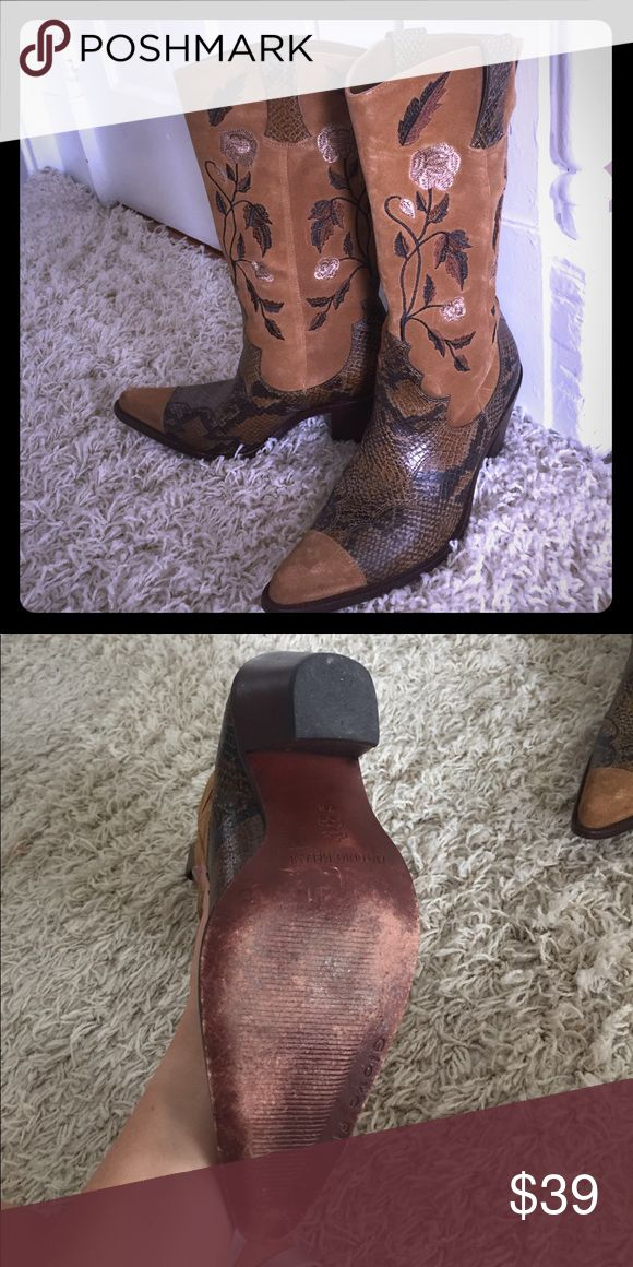 Antonio Melani Suede & faux snakeskin cowboy boots Beautiful Suede cowboy boots with embroidery and faux snakeskin accents ANTONIO MELANI Shoes Heeled Boots