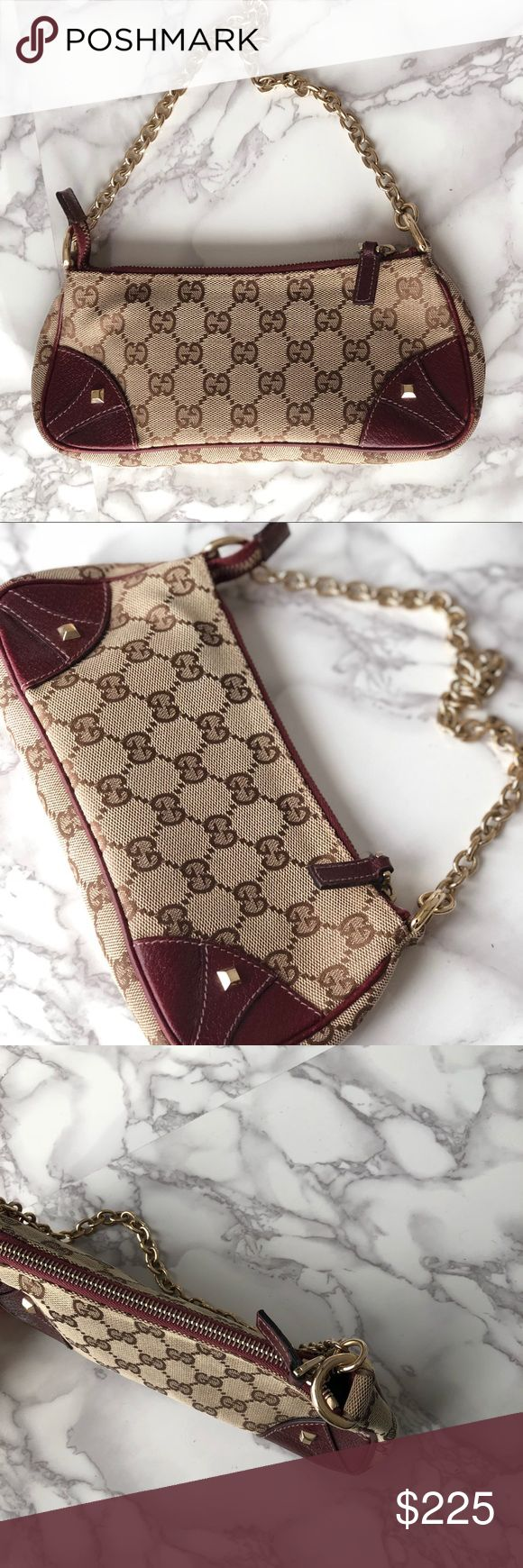 """Gucci Monogram Clutch Gucci Monogram Clutch 100% Authentic Signs of wear 7.5"""" chain Gucci Bags Clutches & Wristlets"""