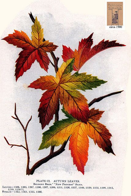 Belding Brothers CI 1900 by Embroiderist, autumn maple leaves