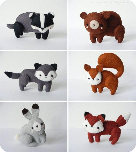 PDF pattern Woodland creatures fox squirrel wolf par iManuFatti