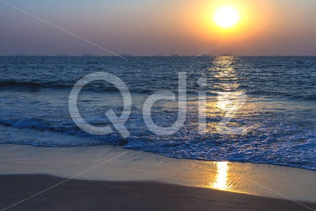 Qdiz Stock Photos | Sunset at sea beach,  #afterglow #arabian #beach #calm #coast #coastline #decline #dream #dusk #evening #fall #goa #horizon #india #mood #nature #ocean #reflection #sand #sea #seascape #set #shore #sky #summer #Sun #sundown #Sunset #tranquility #twilight #water #wave #wet #wildlife