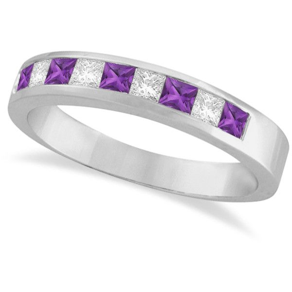 Allurez Princess Channel-Set Diamond & Amethyst Ring Band 14K White... (76625 RSD) ❤ liked on Polyvore featuring jewelry, rings, diamond rings, diamond anniversary rings, purple diamond ring, princess cut wedding rings and diamond cocktail ring