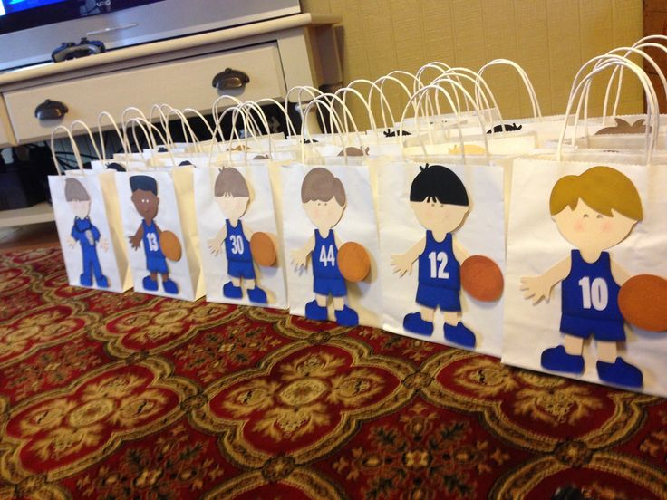 Basketball homecoming goodie bags. Personalized to each player