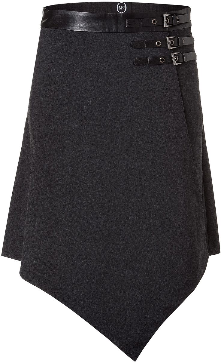 A.McQueen   Fashion (Black asymmetric buckle skirt in a charcoal grey heather wool blend)
