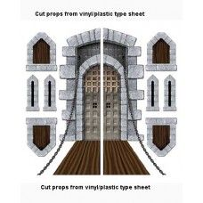 """Perfect for Kingdom Rock VBS 2013 theme. Castle Door and Window Props, 9 props. Printed on vinyl plastic sheets material. Measures as follows: Tall thin are 16"""" (inches) tall by 6"""" inches wide, Square windows 17"""" tall by 12"""" wide, Drawbridge 63"""" inches tall 36""""inches wide when the two pieces connected."""