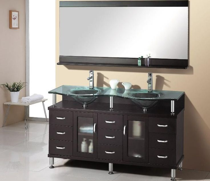 Bathroom Vanities, Creative Double Sink Deluxe Discount Bathroom Vanity With Sink With The Great And Unique Style And Color Ideas With Glass Sink And Long And Large Mirror And Small Table With Flower Vase ~ Furnish Your Cool Bathroom With The Great Discount Bathroom Vanities With Sink
