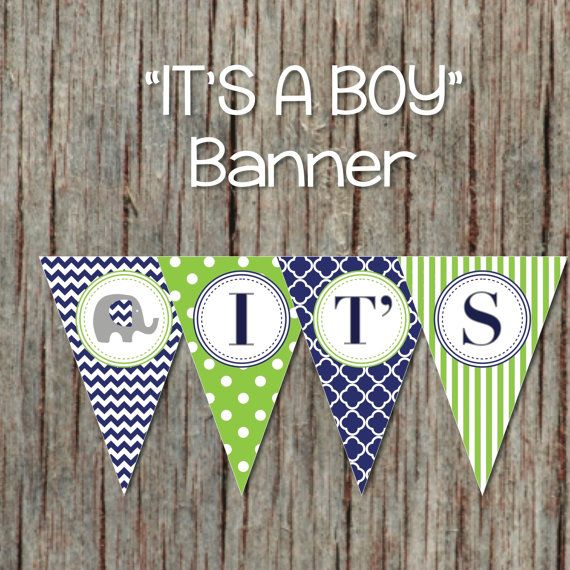 Navy Blue Lime Green Baby Shower Banner. It's a Boy! by BumpAndBeyondDesigns, $6.00