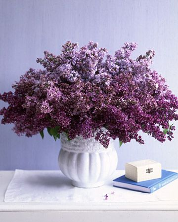 Lilac centerpiece. For my mom, who filled our house with bouquets of lilacs every Spring.