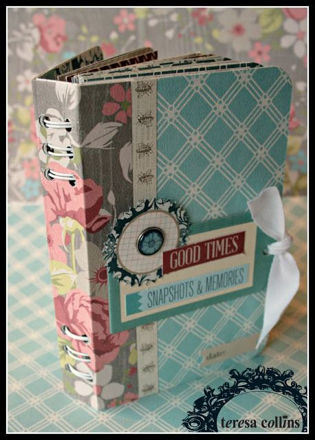 Great Mini Book Binding Tutorial, gives dimensions and layout. Use grunge board for covers.