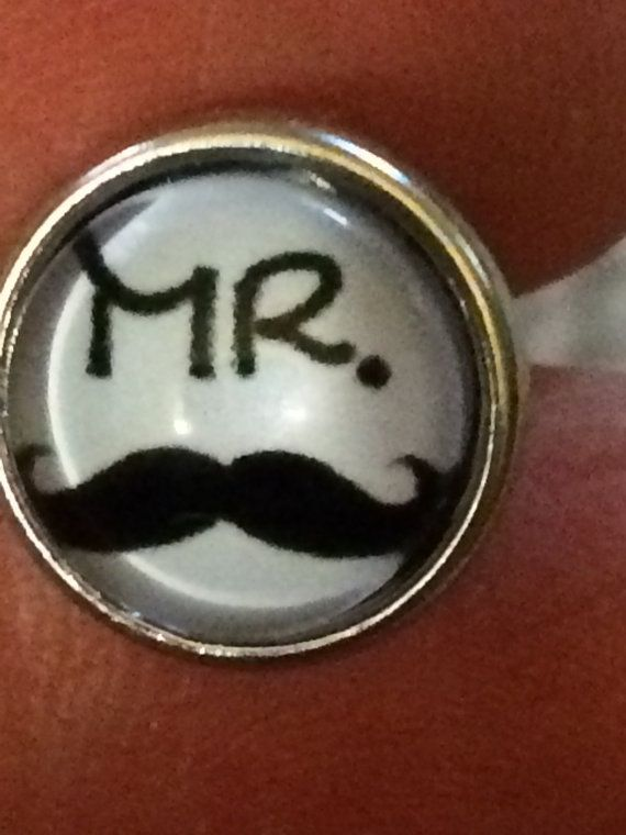 Ginger Snaps Jewelry Inspired   //   Mini - Petite  //  Snap Charm Button   //   Mr Mustache  //  1 Snap