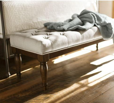 Seating - Victoria Tufted Bench | Pottery Barn - tufted bench, linen tufted bench, button tufted bench,