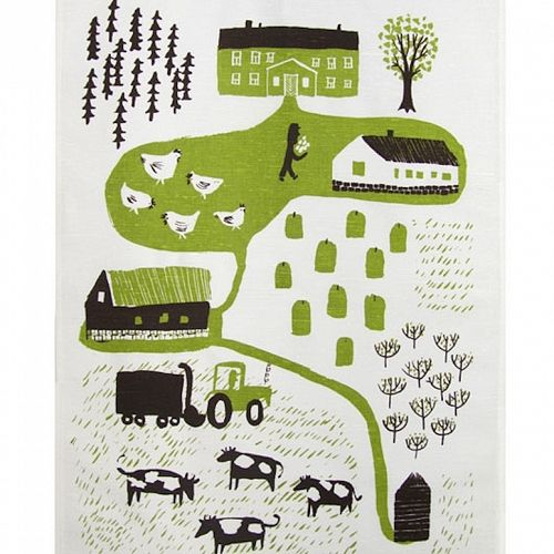 Kauniste Maatila, Tea Towel, Green Farm. Handprinted kitchen linens inspired by 60s & 70s Finnish textiles.