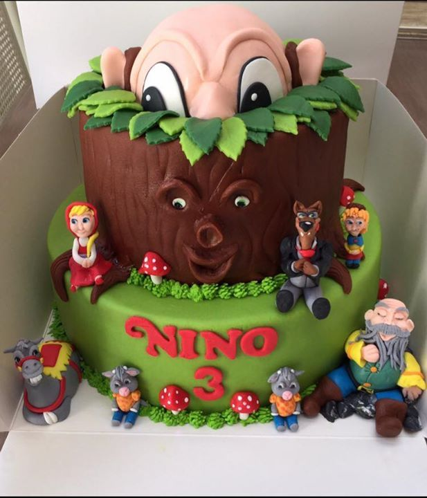 Gave Sprookjesboom-taart voor Nino op de Facebookpagina van Themataarten!