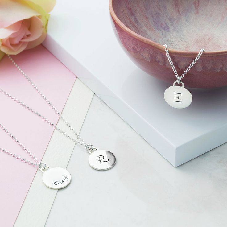 Sterling Silver Frame Initial Necklace  Initial Disc Silver Pendant with typewriter or script font