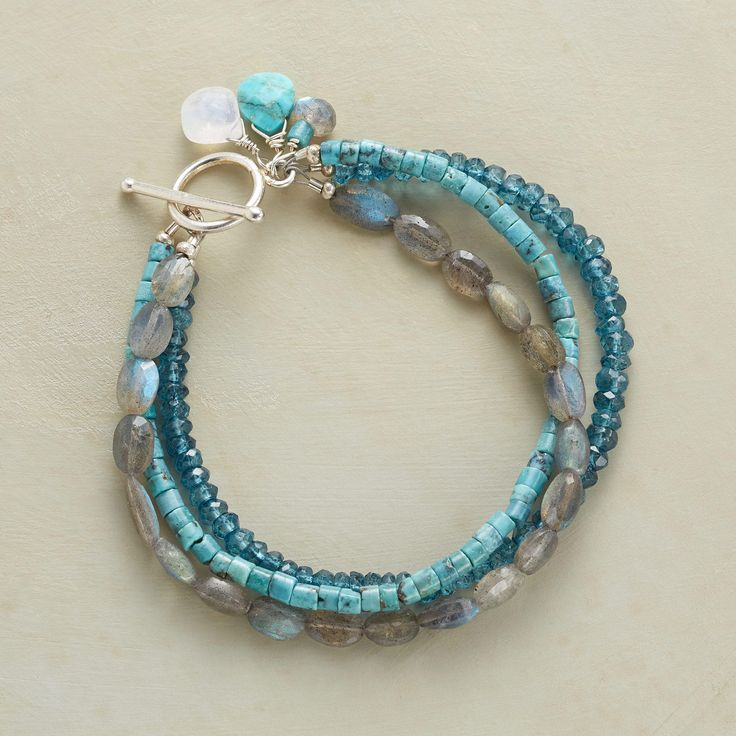 """SHADY DAY BRACELET -- Three strands span the blue-gray spectrum with turquoise heishi beads, labradorite ovals and blue quartz rondelles. Sterling silver toggle clasp. Sundance exclusive handmade in USA. Approx. 7-1/2""""L."""