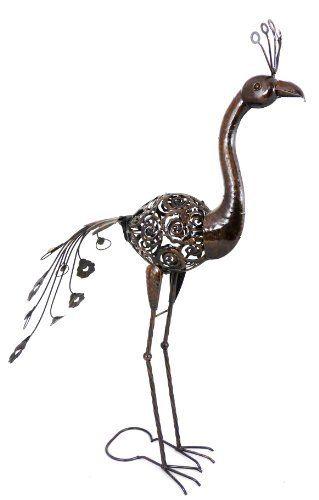 Rustic Dark Metal Large Peacock Garden Animal Ornament Statue , Http://www.