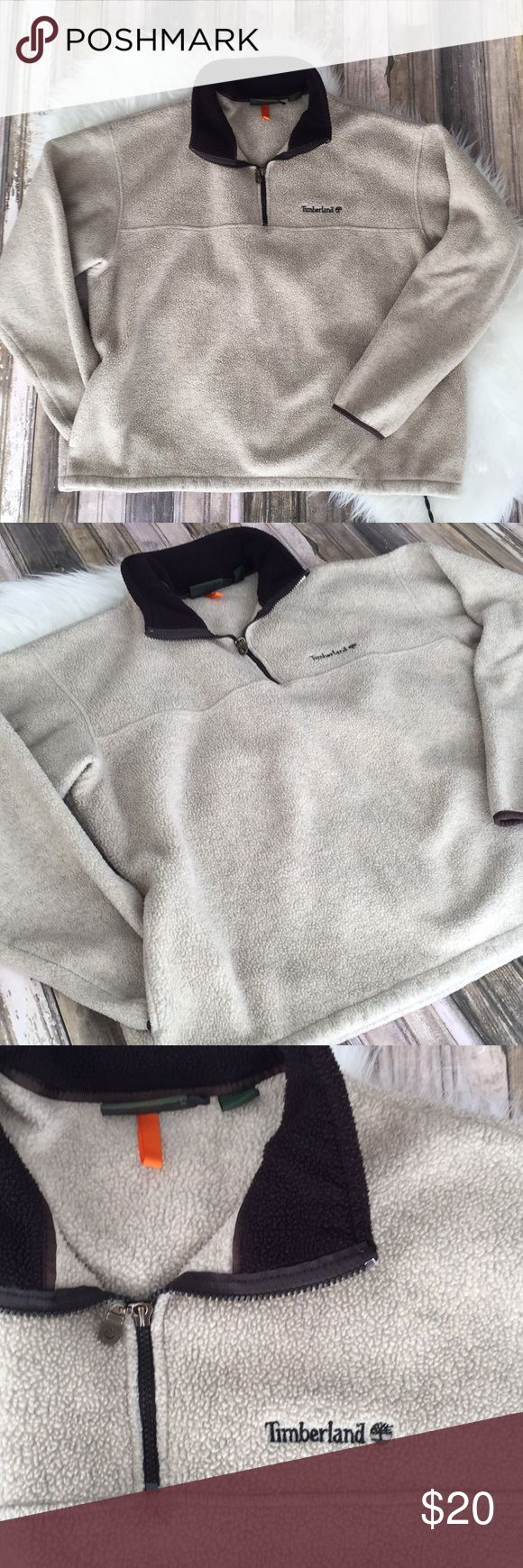 Mens timberland tan half zip fleece pull over Mens xl timberland half zip tan pullover. Please review photos for details and measurements. No trades Timberland Jackets & Coats