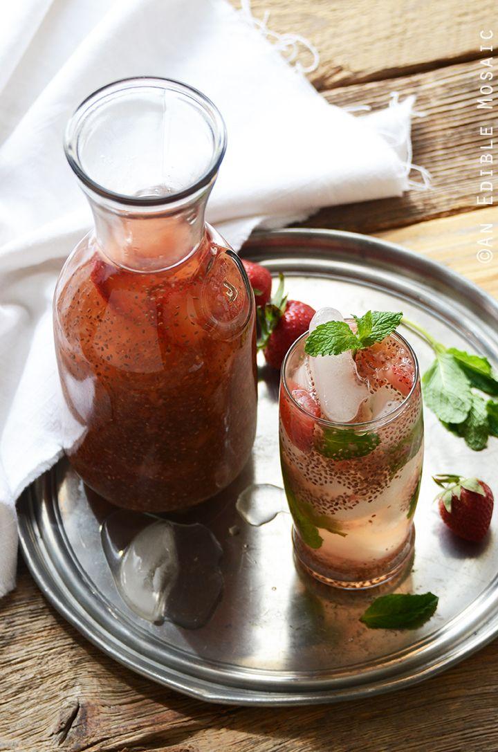 Strawberry Chia Seed Iced Green Tea - so refreshing! #drink #recipe