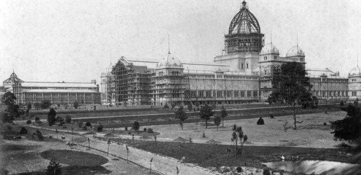 Melbourne's Royal Exhibition Building under construction in 1878.