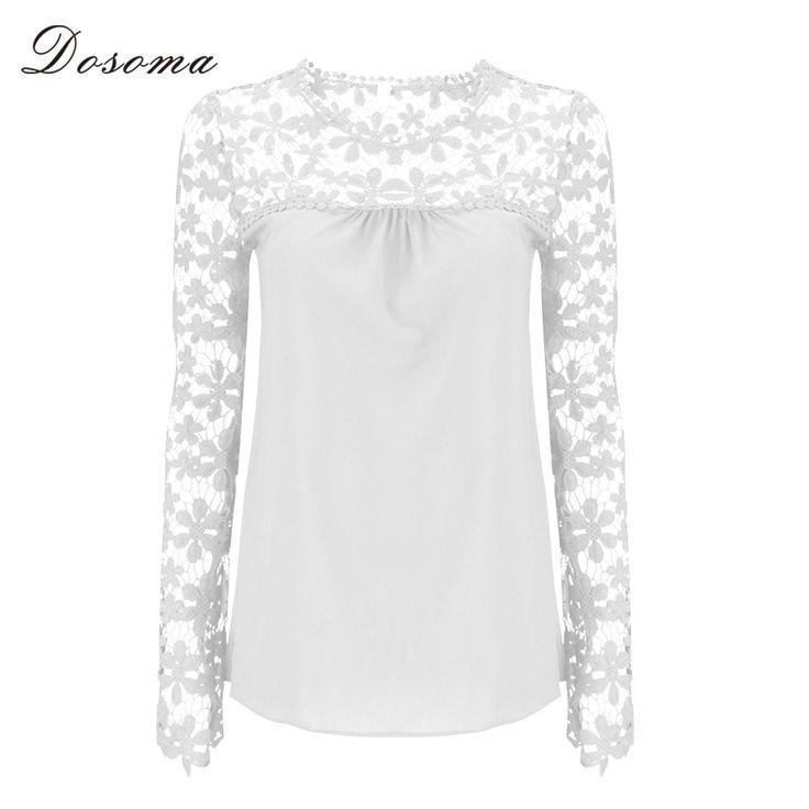 秋のエレガントな女性白いレース花かぎ針編みシフォンシャツ女性のシャツトップファムプルオーバー基本着用プラスサイズs-5xl