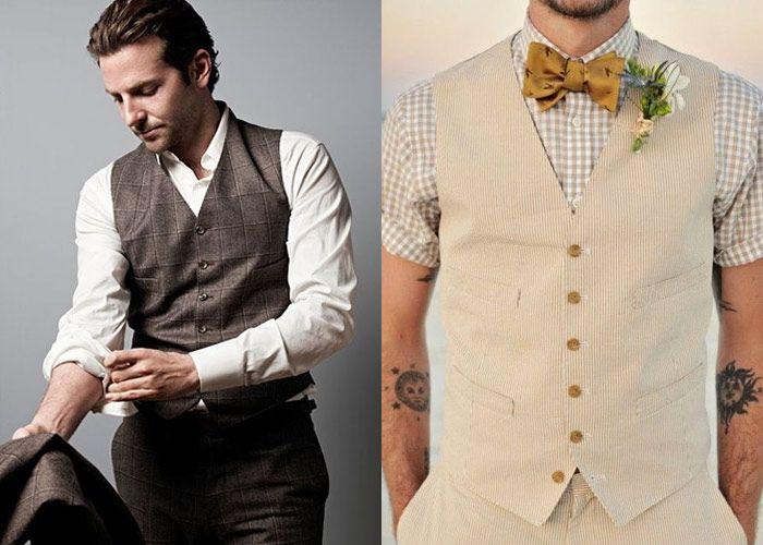 Noivos de Colete São uma opção cada vez mais comum. O colete pode ser o principal ítem do vestuáro do Noivo.