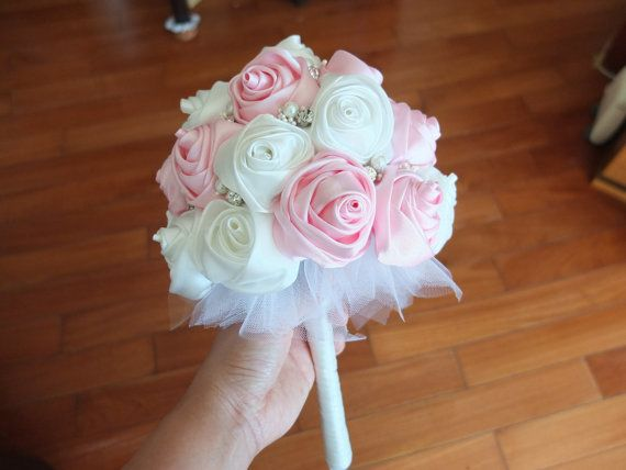 Satin Rose Bouquet, Ribbon Rose bouquet, Pink & Ivory Flower accented with rhinestone (Small, 6-7 inch) via Etsy
