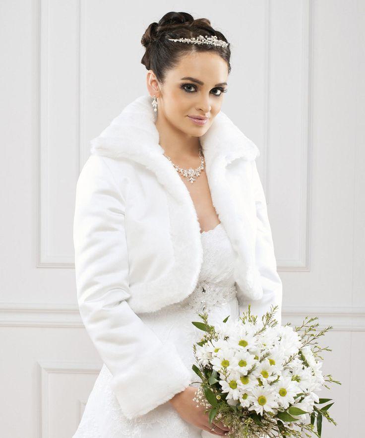 bolro mariage satin doubl fausse fourrure tea blanc 81 - Bolero Mariage Blanc