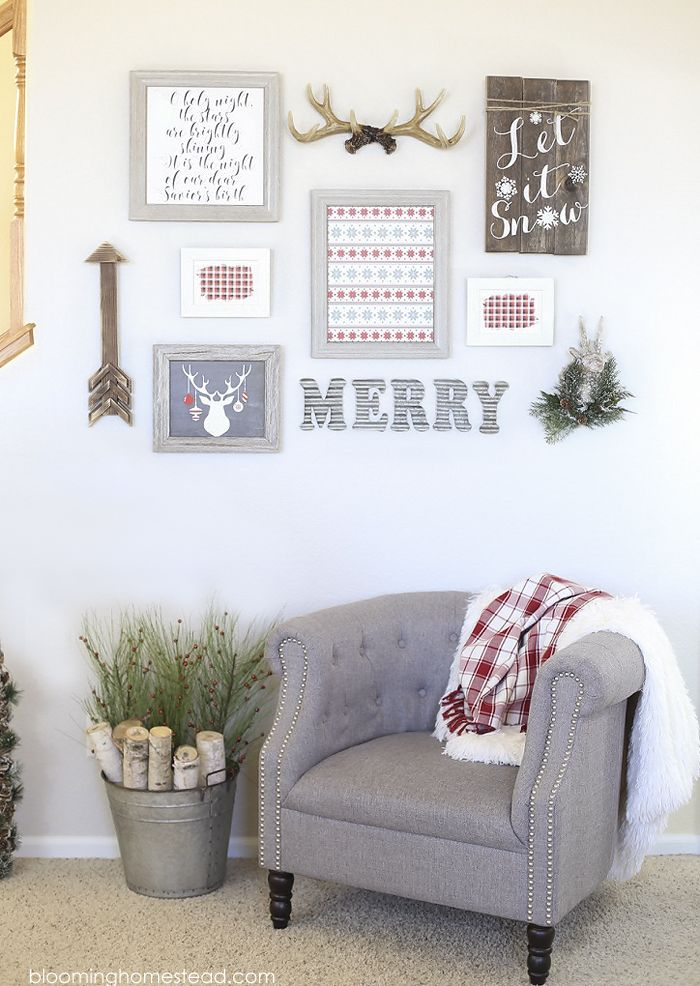 Creating a gallery wall is so simple and I loved using these fun printable holiday art prints I ordered from shutterfly. Get the free printables at www.bloominghomestead.com