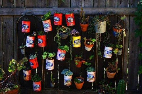 eclectic landscape by Melissa Mascara Design: Gardens Ideas, Coffee Cans, Gardens Wall, Vertical Gardens, Herbs Garden, Flower Pots, Fireplaces Screens, Tins Cans, Wall Gardens
