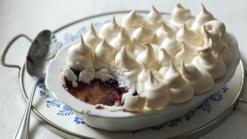 Mary Berry's step-by-step recipe for this retro British pudding of custard, cake and jam topped with soft, chewy meringue.  You will need a 1.4L/2½pt oval ovenproof dish that will fit inside a roasting tin.