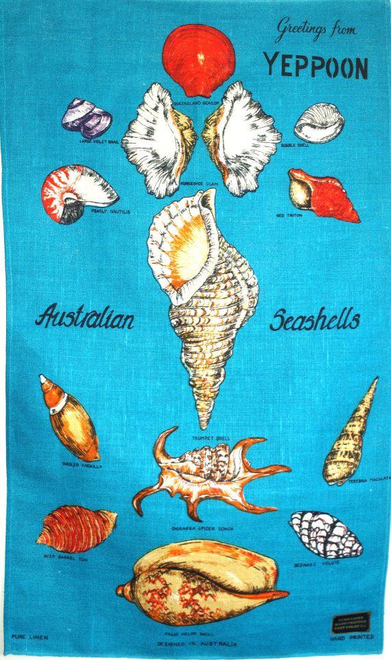 Australian Seashells Polish Linen Tea Towel 60s Sea by FunkyKoala
