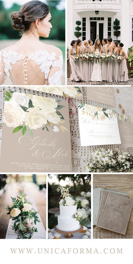 Taupe green wedding. Muted neutral wedding. Tan and green wedding. Beige cream wedding. Classic wedding. 2018 wedding colors. 2018 wedding trends. White wedding bouquet. Calligraphy wedding invitations. Different bridesmaid dresses. Wedding etiquette. Custom vow booklet. Summer wedding. Spring wedding. Bridal shower ideas. Boho wedding ideas. white wedding cake. Cake topper. timeless wedding. Black tie wedding. outdoor wedding. marsala wedding. taupe wedding palette. Invitations by Unica…