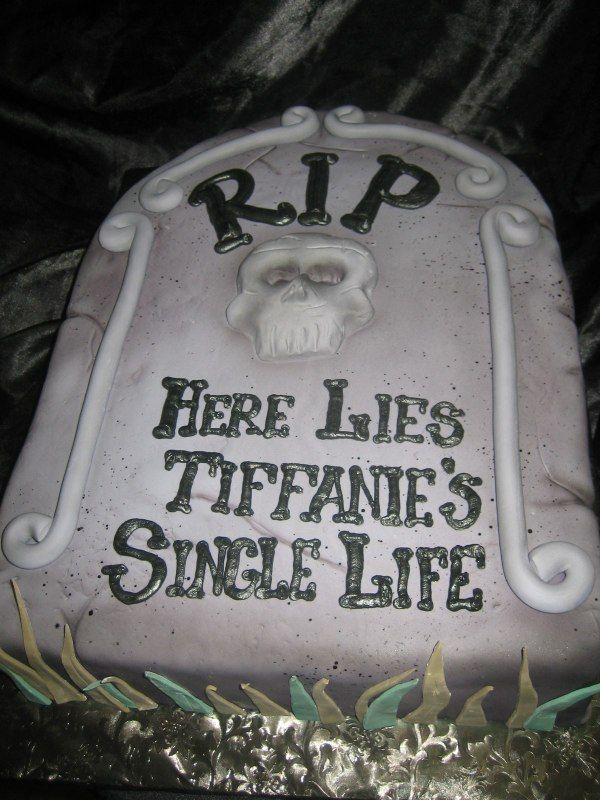 Tombstone Bridal Shower Cake - omg this was really on someone's shower cake?!? That's terrible!!!