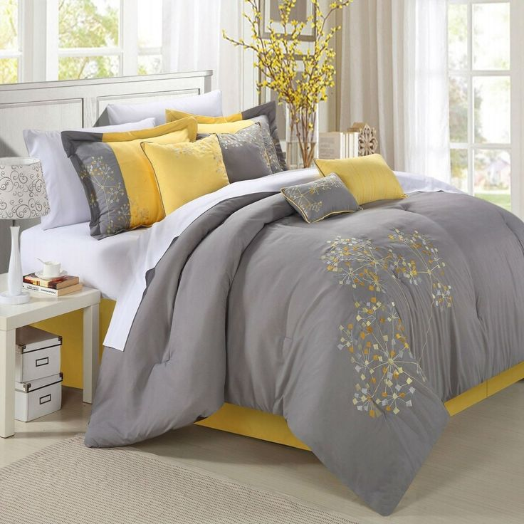 King 8-Piece Modern Yellow Grey Floral Comforter Set