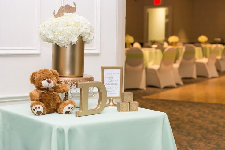 Welcome Guest Table - Mint Green and Champagne Classy Mustache & Bow-Tie Boy Baby Shower